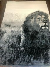 Modern Rugs Approx 8x5ft 160x230cm  New Lion Design Rugs Grey/Cream Good Bargain